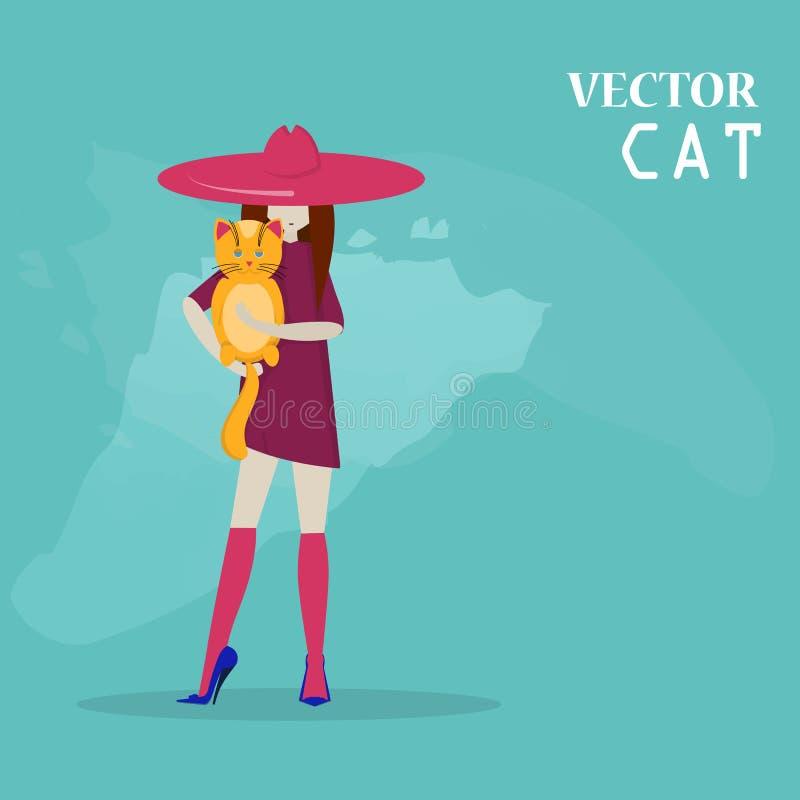 传染媒介女孩和猫平的样式 向量例证