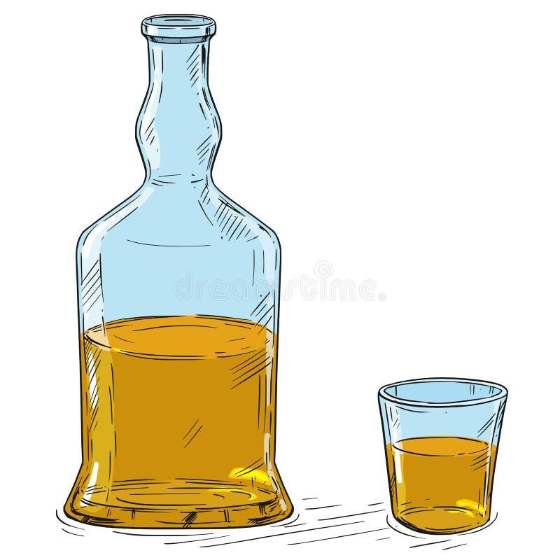传染媒介威士忌酒或烈酒瓶和小玻璃动画片图画  库存例证