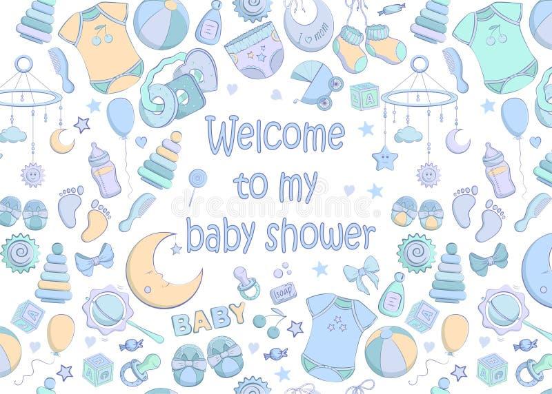 传染媒介婴儿送礼会邀请 库存例证