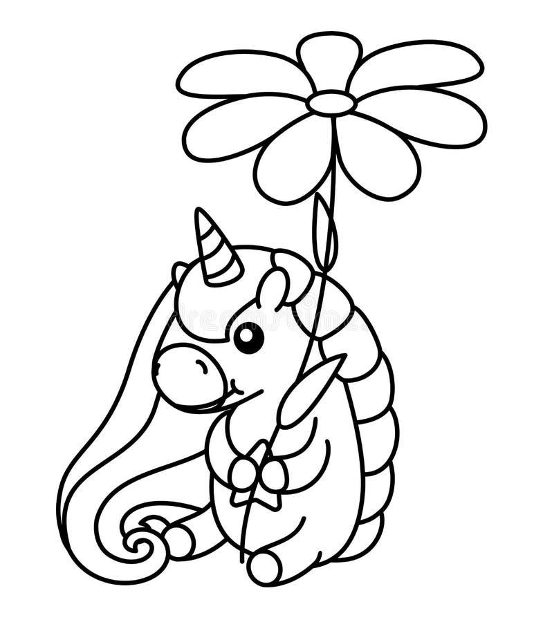 传染媒介婴孩彩虹独角兽 黑白色例证 库存例证