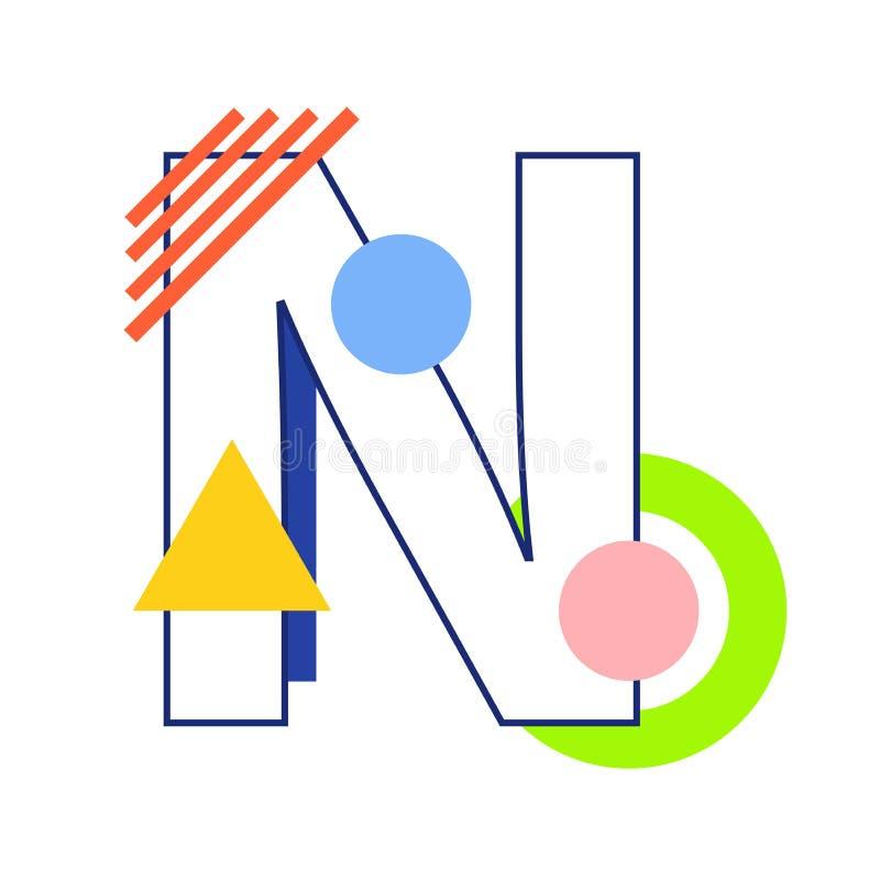传染媒介字母N 库存例证