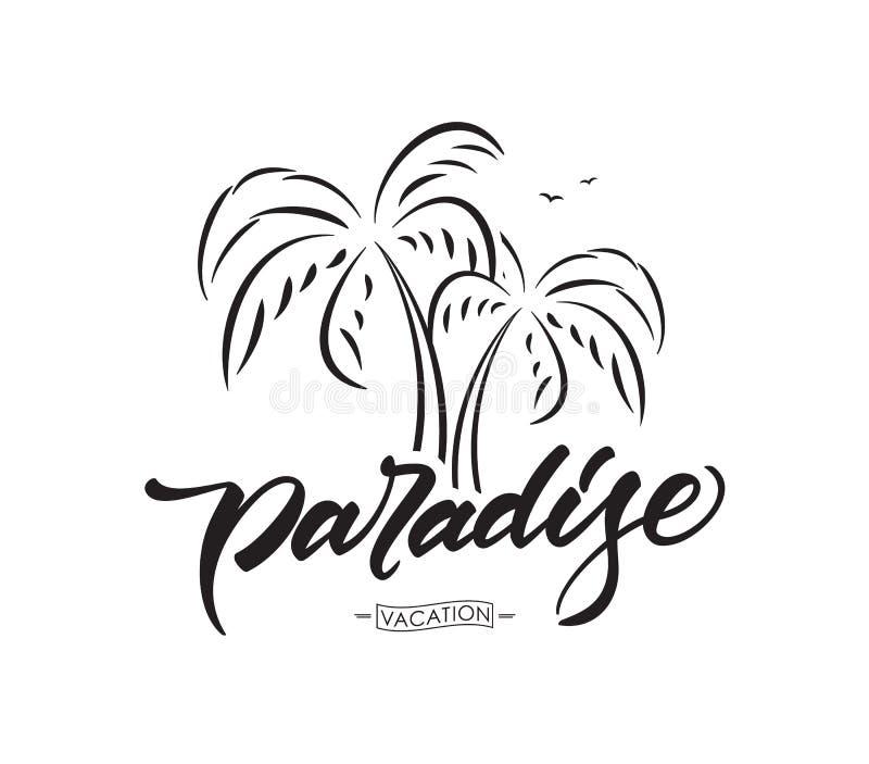 传染媒介字法天堂印刷术设计有棕榈树的在白色背景 katya krasnodar图片