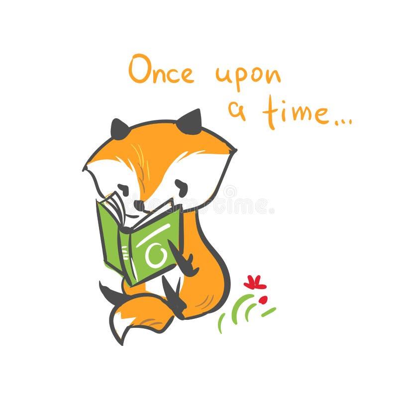 传染媒介字符狐狸婴孩读了书印刷品 库存例证