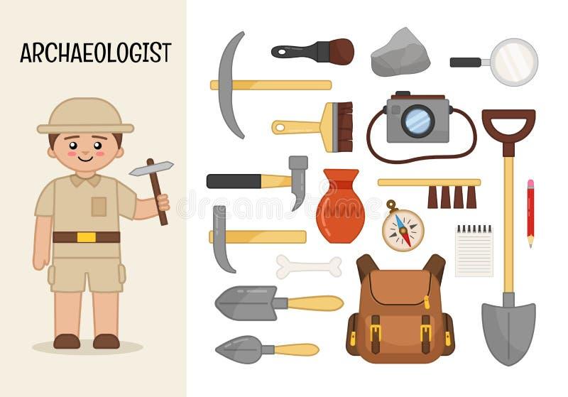 传染媒介字符考古学家 向量例证
