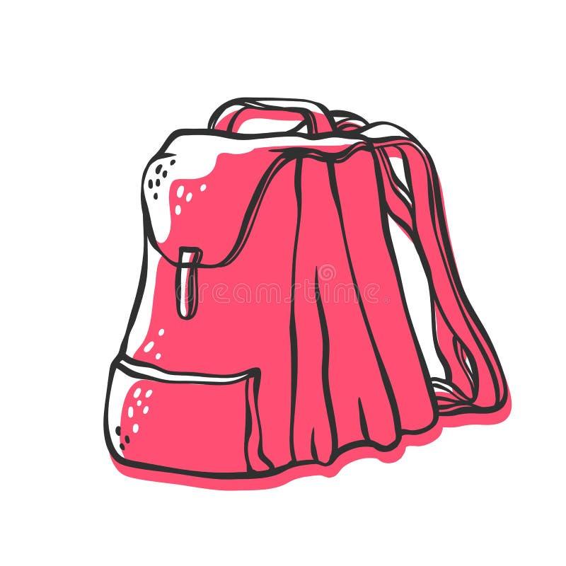 传染媒介学校背包 与垂距粉色的明亮的剪影等高乱画例证 向量例证