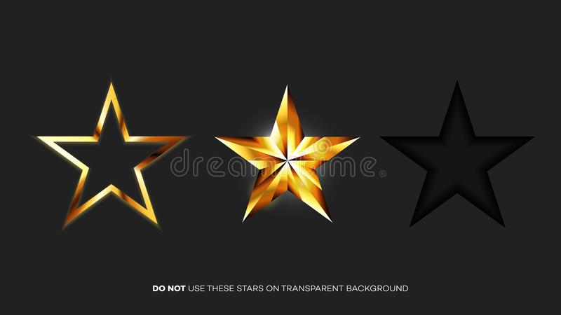 传染媒介完善的光滑的金黄星 对设计估计的圣诞节、奖或者五个星的模板 向量例证