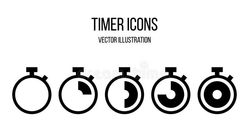 传染媒介定时器象集合 秒表标志 皇族释放例证
