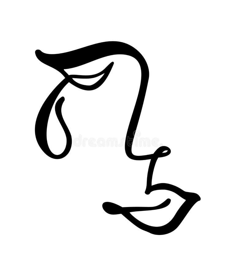 传染媒介实线,画哀伤的妇女面孔,时尚最低纲领派概念 风格化线性例证女性头 皇族释放例证