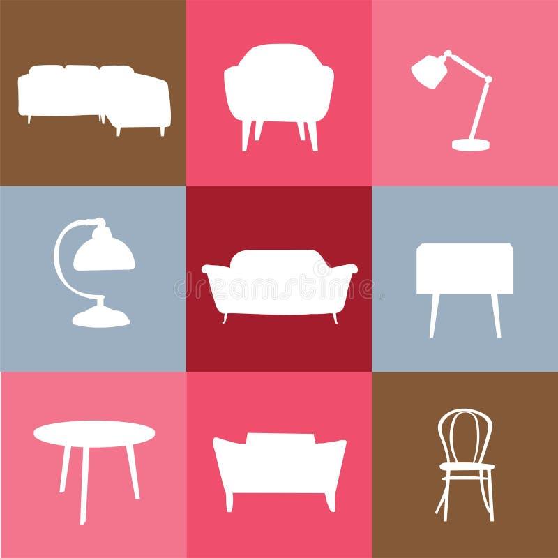 传染媒介室内设计例证 黑色家具图标线路简单的白色 徽标 免版税图库摄影