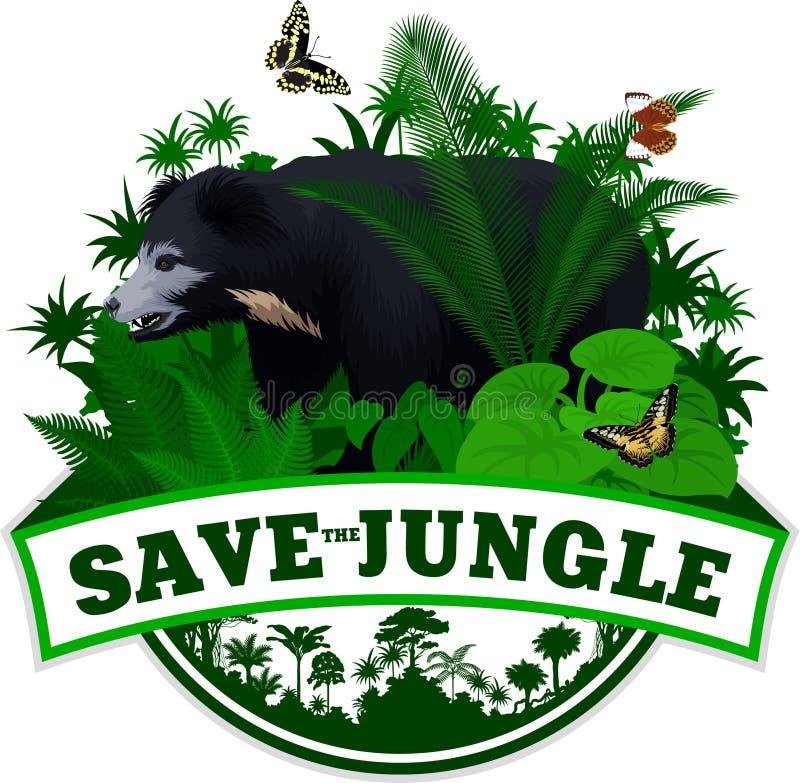 传染媒介密林与印度印度的一种长毛熊和蝴蝶的雨林象征 库存例证