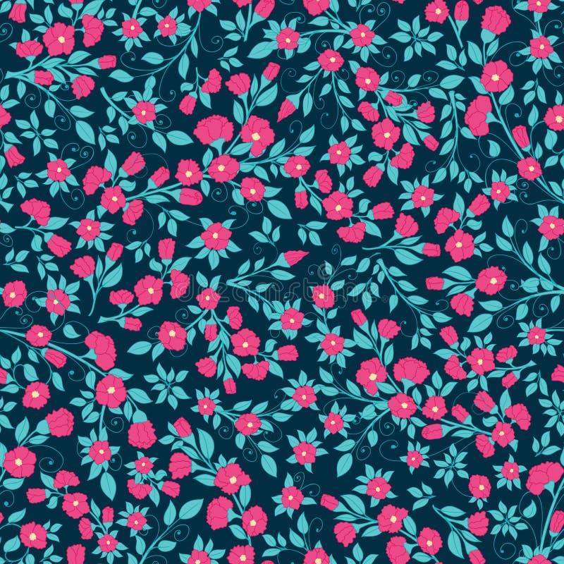 传染媒介密集的花卉无缝的样式纹理 皇族释放例证