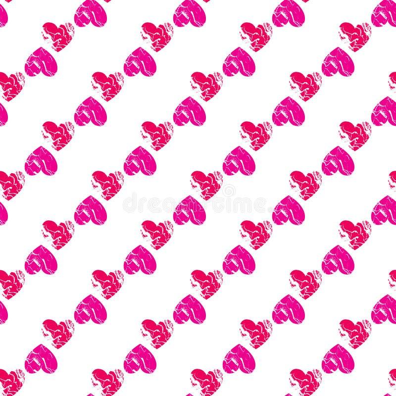 传染媒介对角条纹心脏无缝的样式 在白色背景隔绝的崩裂的纹理 向量例证