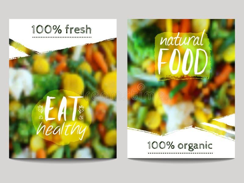 传染媒介小册子设计模板有与菜和eco标签的迷离背景 健康新鲜食品、素食主义者和eco 库存例证