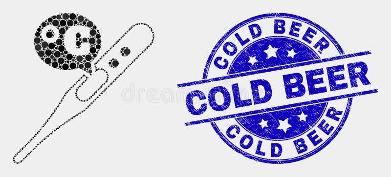 传染媒介小点摄氏温度计象和难看的东西冰镇啤酒封印 向量例证