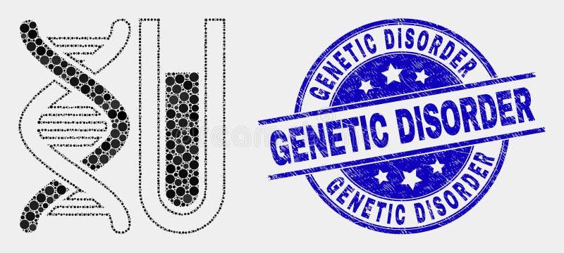 传染媒介小点脱氧核糖核酸Testtube象和困厄遗传性疾病邮票 向量例证