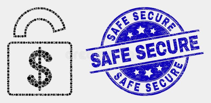 传染媒介小点银行锁象和被抓的安全安全邮票 库存例证