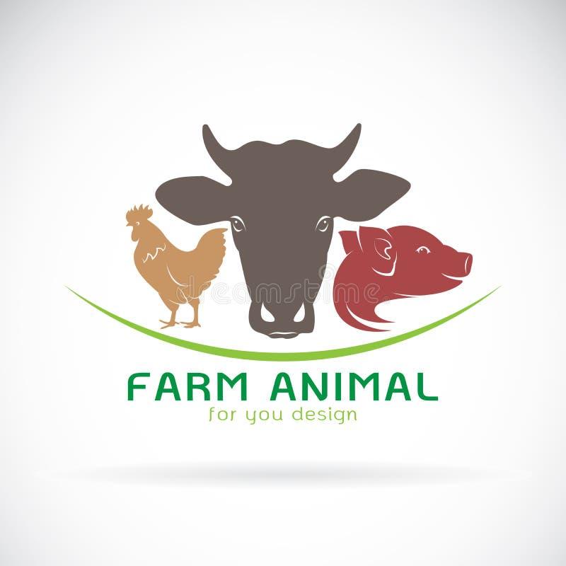 传染媒介小组动物农场标签 母牛,猪,鸡 徽标 向量例证