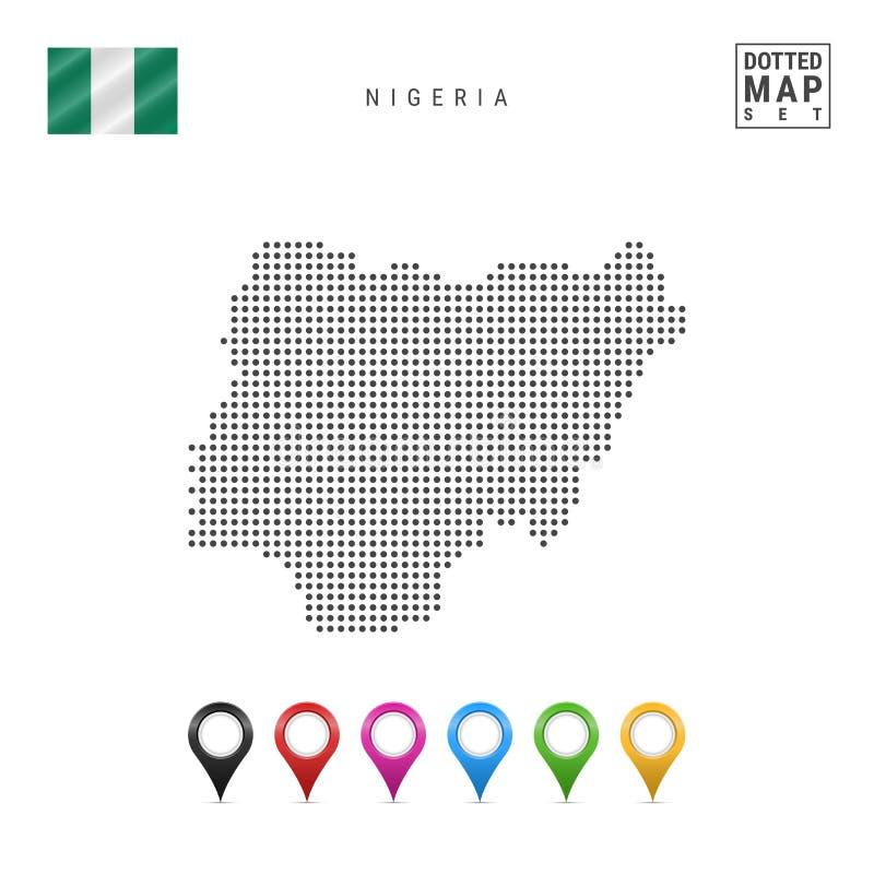 传染媒介尼日利亚的被加点的地图 尼日利亚的简单的剪影 尼日利亚的国旗 套多彩多姿的地图标志 向量例证