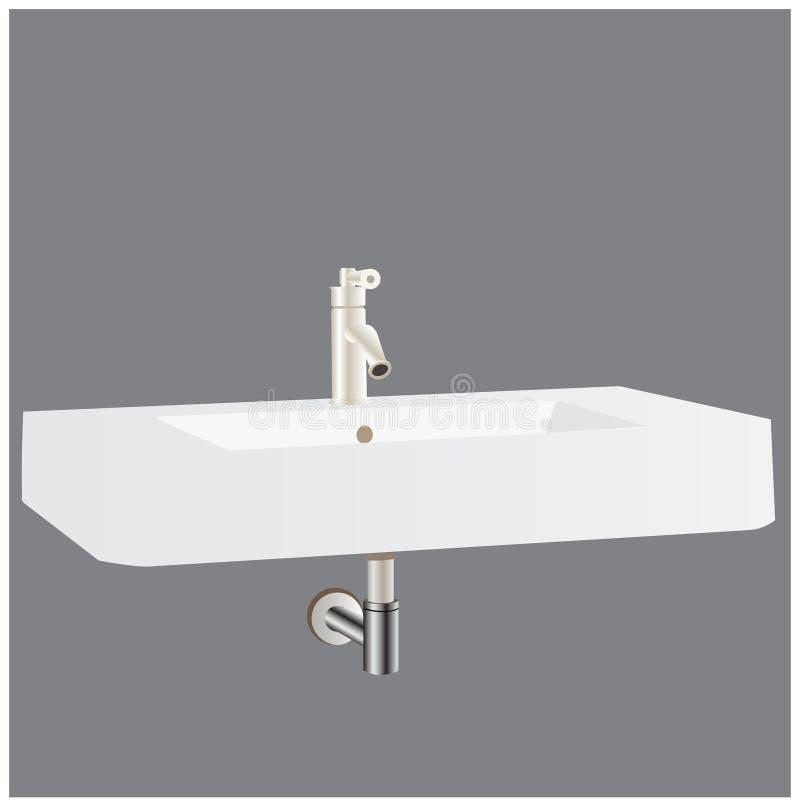 传染媒介工作台面水盆在一个现代卫生间里 向量例证