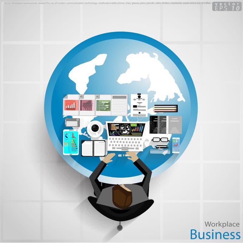 传染媒介工作场所商人观看了对现代通讯技术,笔记本,手机,椅子,玻璃,笔, penc的使用 皇族释放例证