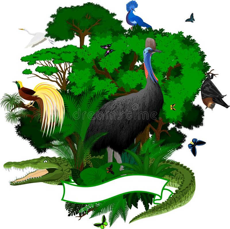 传染媒介巴布亚新几内亚与鳄鱼,果实蝙蝠,维多利亚的密林象征加冠了鸽子,食火鸡,苍鹭,一点鸟 库存例证