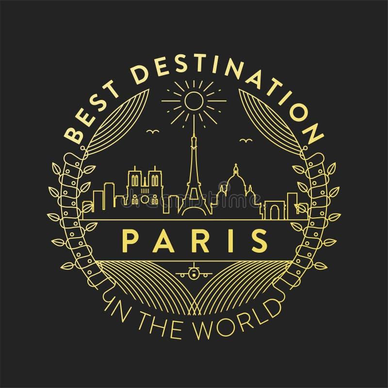 传染媒介巴黎市徽章,线性样式 库存例证