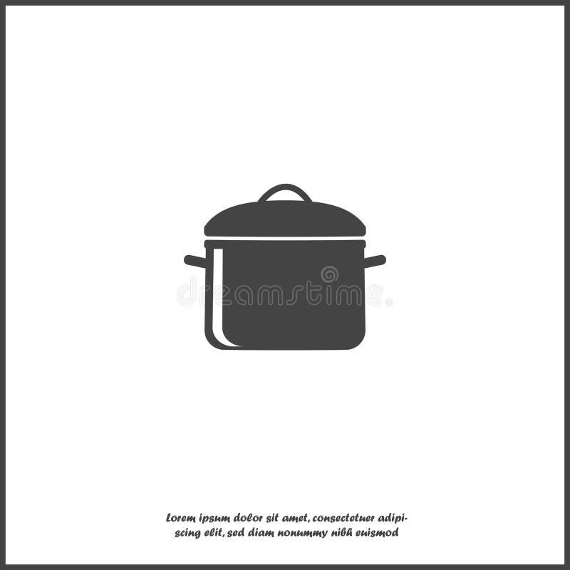 传染媒介平底锅象 烹调在白色被隔绝的背景的标志 库存例证