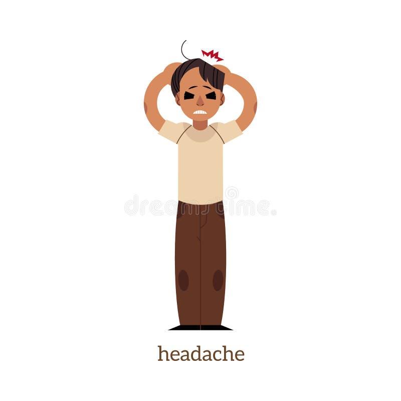 传染媒介平的人对负顶头与头疼 皇族释放例证