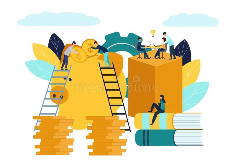 传染媒介平的例证,白色背景的,金融服务,银行家大存钱罐完成工作,囤积居奇或存金钱, 库存例证