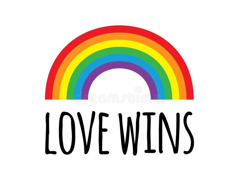 传染媒介平的动画片lgbt自豪感彩虹爱赢得在白色背景的字法 库存例证