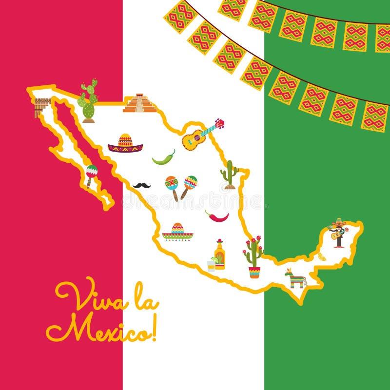 传染媒介平的墨西哥在地图墨西哥国旗归因于 皇族释放例证