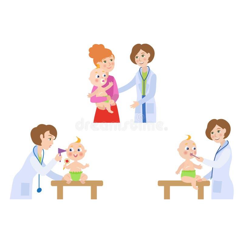 传染媒介平的女性医生婴儿婴孩场面集合 皇族释放例证