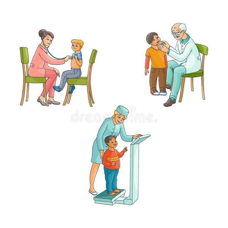 传染媒介平的女性医生青少年的孩子场面集合 向量例证