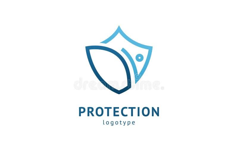 ?? 传染媒介平的样式例证摘要企业安全机关商标模板 抗病毒,保护的商标概念 库存例证