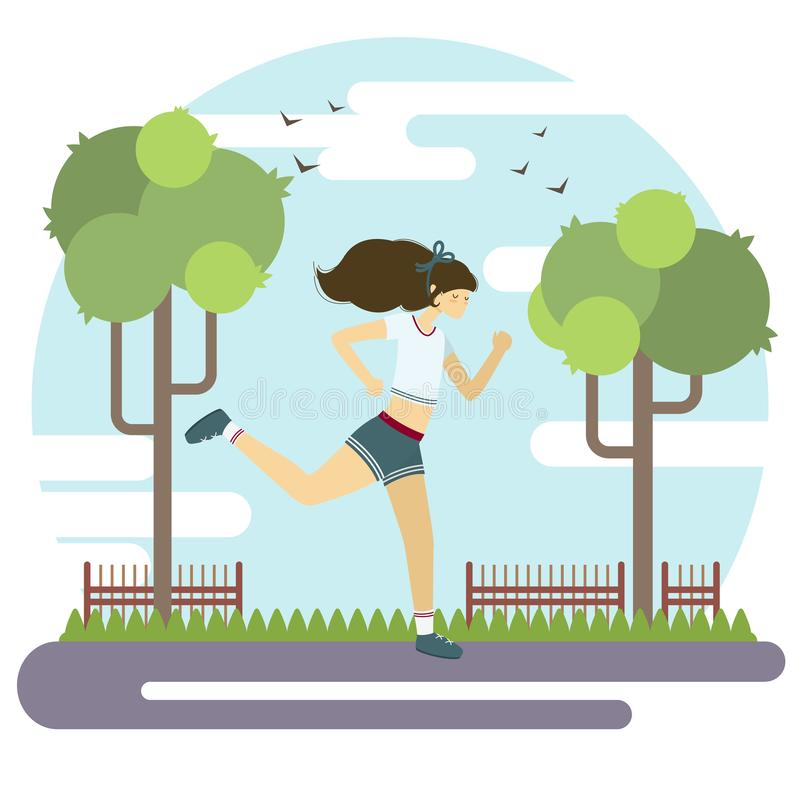 传染媒介平的样式例证 女孩公园运行的年轻人 体育生活方式海报 库存照片