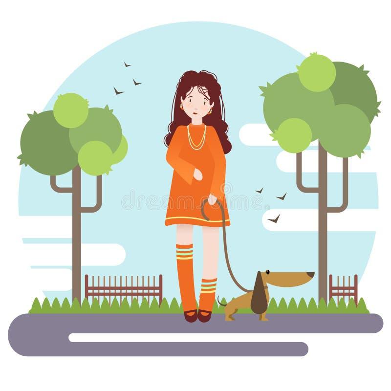 传染媒介平的样式例证 女孩步行在有她的小犬座的公园 免版税库存图片