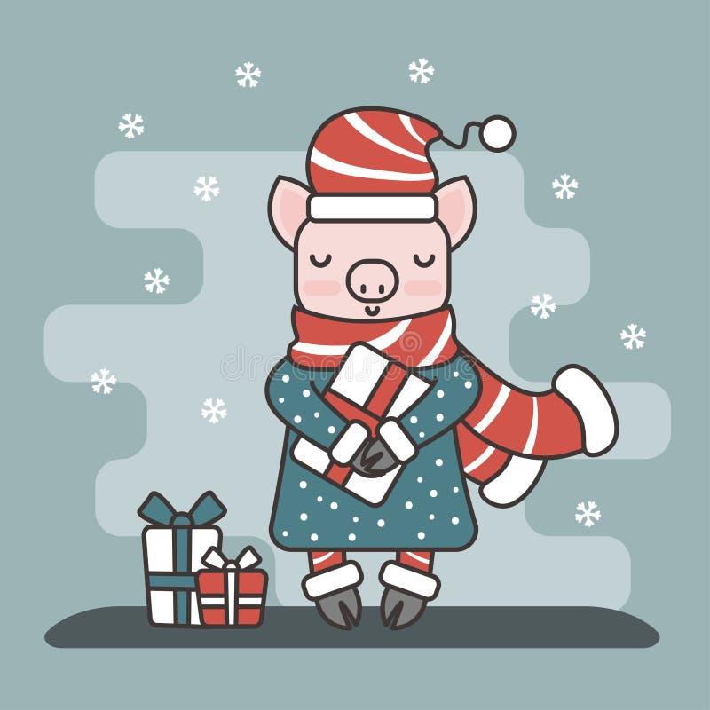 传染媒介平的样式例证 2019年的标志:与礼物盒的一点猪 免版税库存图片