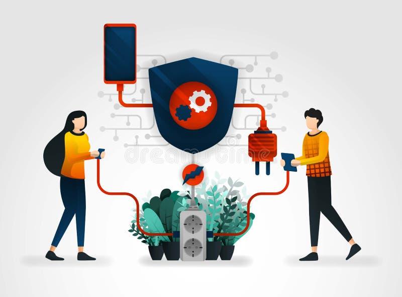 传染媒介平的漫画人物 人们在终端分享电受保障系统的保护 新的安全t 库存例证