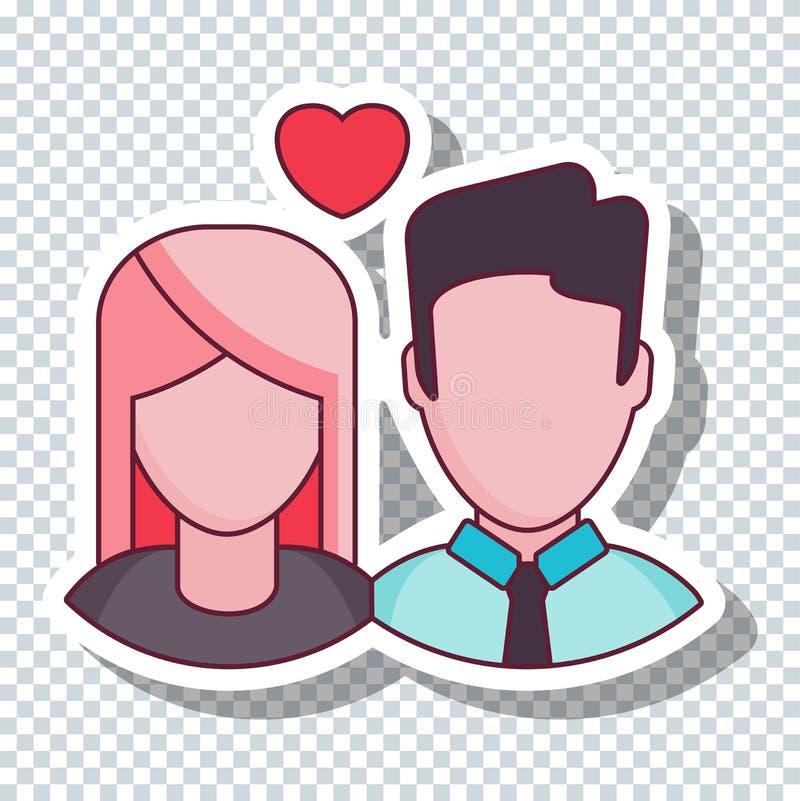 传染媒介平的爱夫妇贴纸为情人节 向量例证