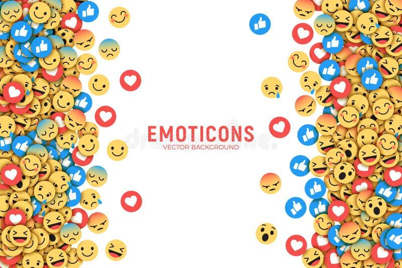传染媒介平的现代Emoji概念性背景 库存例证