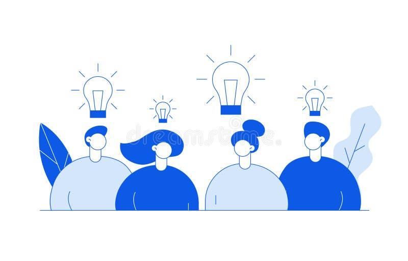 传染媒介平的线型企业与大现代人,电灯泡,叶子的配合和想法设计观念 向量例证