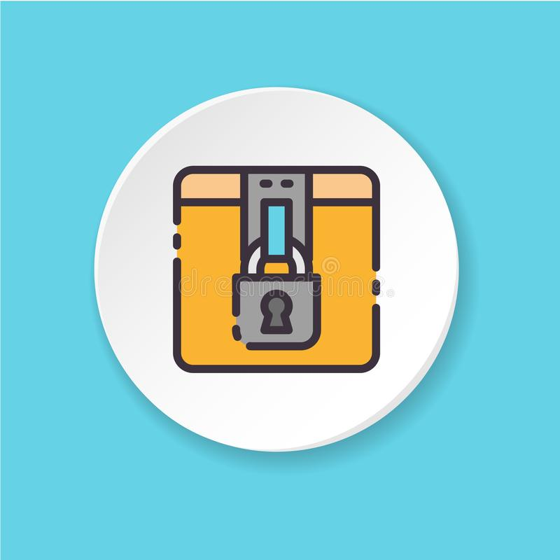 传染媒介平的象锁着的箱子 UI/UX用户界面 库存例证