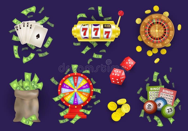 传染媒介平的赌博娱乐场赌博的符号集 皇族释放例证