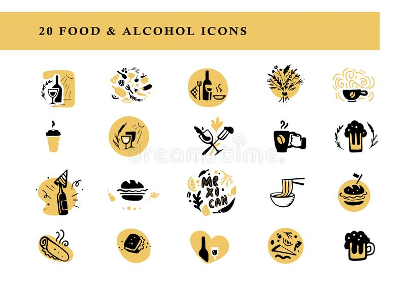传染媒介平的食物的汇集和酒精安排&象在白色背景设置了被隔绝 皇族释放例证