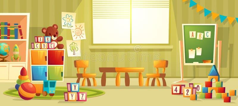 传染媒介幼儿园室动画片内部  向量例证