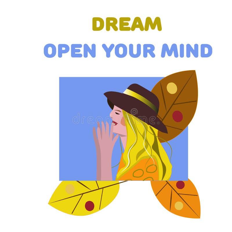 传染媒介开放女孩的海报和的文本您的头脑 E r 皇族释放例证