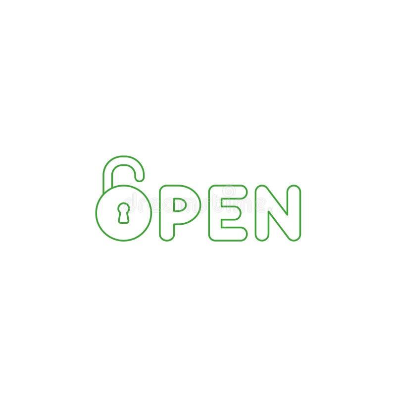 传染媒介开放词的象概念与被打开的挂锁的 颜色概述 皇族释放例证