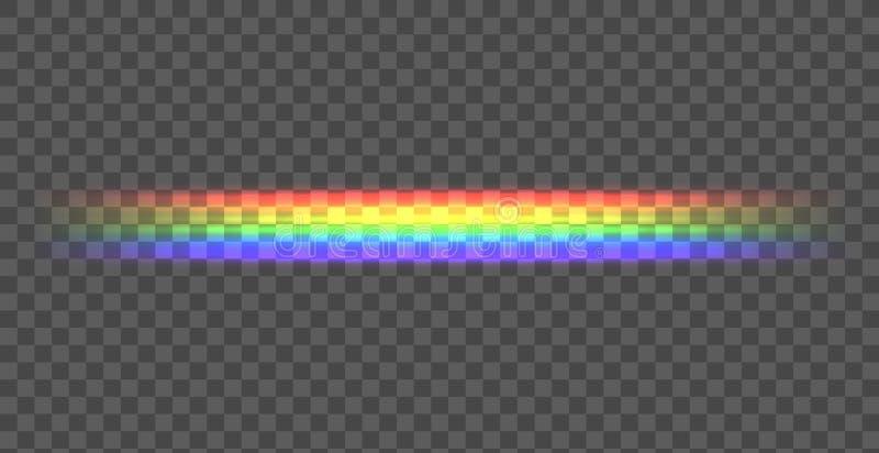 传染媒介彩虹直线,在黑暗的背景,透明线的光亮的例证 向量例证