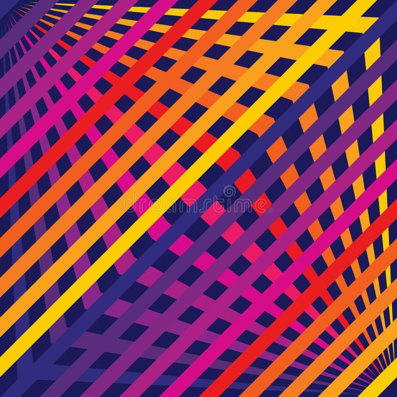 传染媒介彩虹线样式 与对角横渡的条纹的无缝的纹理 库存例证