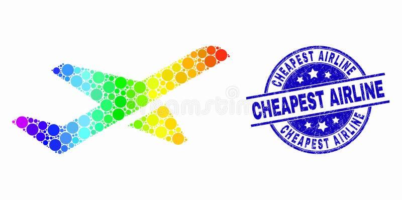传染媒介彩虹色的映象点飞机起飞象和难看的东西最便宜的航空公司邮票封印 向量例证
